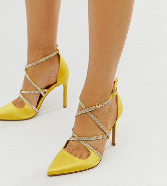 ASOS DESIGN Wide Fit Wren embellished high heels in yellow