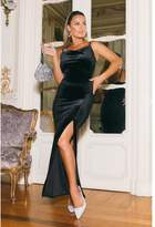 Quiz Sam Faiers Black Velvet Cowl Neck Split Maxi Dress
