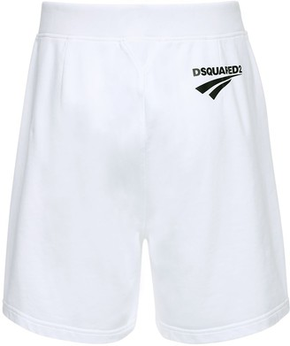 DSQUARED2 Logo Print Cotton Jersey Sweat Shorts