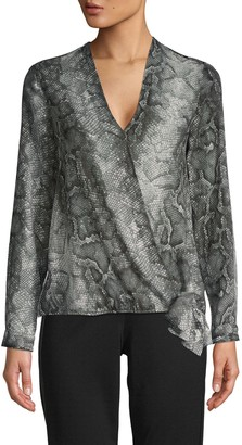 Supply & Demand Snakeskin-Print Faux-Wrap Top