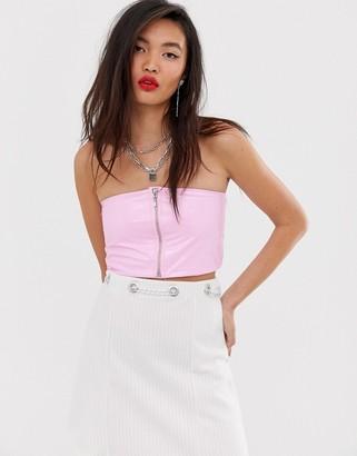 ASOS DESIGN two-piece bandeau in pink vinyl with zip front