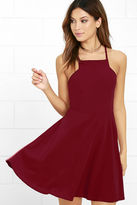 LuLu*s Call to Charms Wine Red Skater Dress