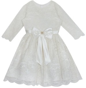 Rare Editions Toddler Girl Glitter Lace Dress With Satin Bow