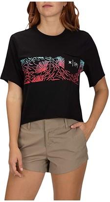 Hurley Sig Zane Crop Pocket Short Sleeve Crew (Black) Women's Clothing