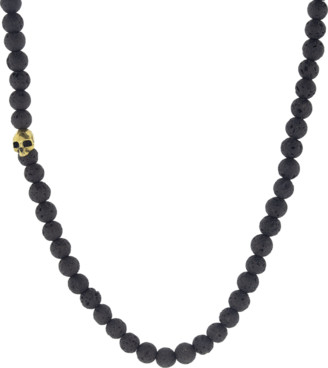 John Varvatos Lava Bead and Brass Skull Necklace