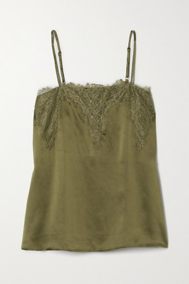 CAMI NYC The Sweetheart Lace-trimmed Silk-charmeuse Camisole - Green
