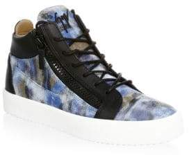 Giuseppe Zanotti Leather Camouflage High-Top Sneakers