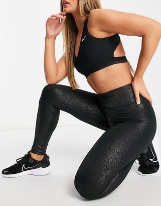 Nike Training Sparkle One Tight 7/8 leggings in black