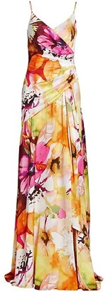 Theia Floral Faux-Wrap Gown