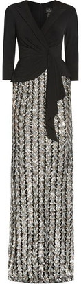 Adrianna Papell Jersey and Chevron Sequin Gown
