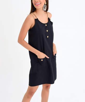 Milan Kiss Women's Casual Dresses BLACK - Black Button-Front Pocket Sleeveless Dress - Women
