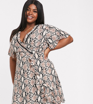 Koko Snake Print Wrap Dress