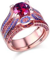 Newshe Jewellery Created Ruby Blue Sapphire 925 Sterling Silver Wedding Band Engagement Ring Sets 5