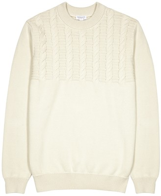 Sunspel Ecru cable-knit cotton jumper