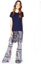 Michael Lauren Scout Fringe Tee in Navy