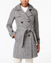 Anne Klein Wool-Cashmere Blend Plaid Walker Coat