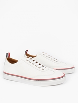 Thom Browne White Grained-leather Sneakers
