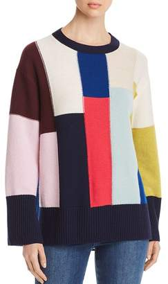 St. John Oversized Color-Blocked Wool & Cashmere Sweater