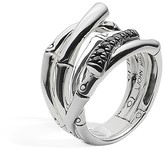 John Hardy Sterling Silver Bamboo Ring with Black Sapphire