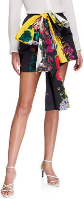 Oscar de la Renta Floral Print Cotton Twill Tie-Waist Shorts