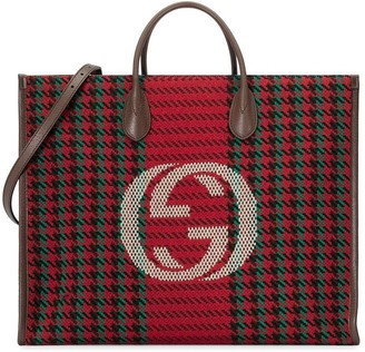 Gucci Interlocking G houndstooth tote bag