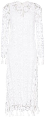 Chloé Floral Crochet Fringed Midi Dress
