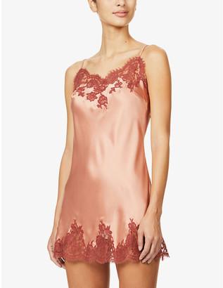 Marjolaine Inedite lace-embellished silk chemise