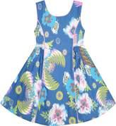 Sunny Fashion JC14 Girls Dress Sleeveless Denim Floral Print Flower Detailing