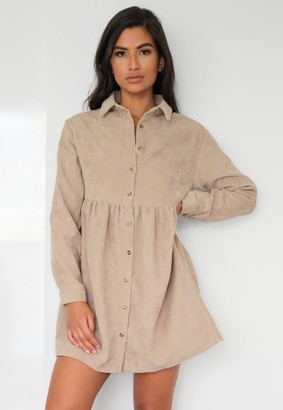 Missguided Stone Cord Oversized Smock Shirt Dress