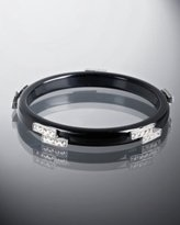 black resin art deco crystal bangle