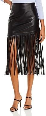 BAGATELLE.NYC Bagatelle. nyc Fringed Faux Leather Midi Skirt