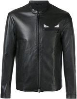 Fendi 'Metal eye' leather jacket - men - Lamb Skin/Cupro/Brass - 50