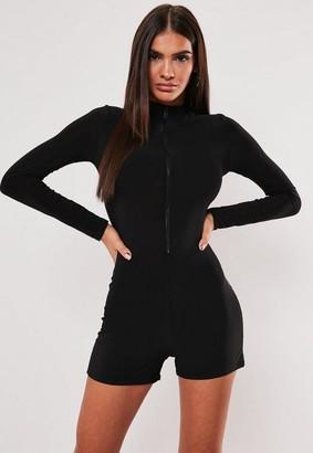 Missguided Petite Black Long Sleeve Zip Front Unitard