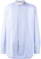 Paul Smith striped band collar shirt