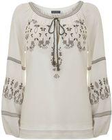 Mint Velvet Ivory Folk Embroidered Blouse