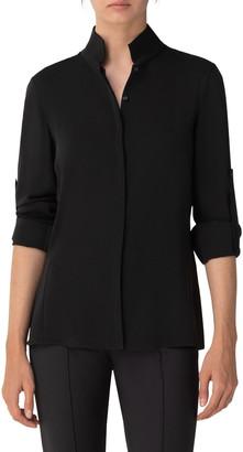 Akris Silk Keyhole Tab Sleeve Button-Down Blouse