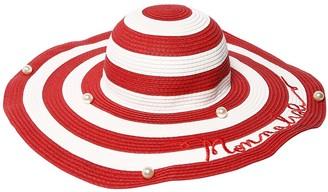 MonnaLisa Embellished Striped Wide Brim Hat