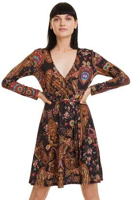 Desigual Cira Flared Wrapover Dress in Paisley Print with Long Sleeves