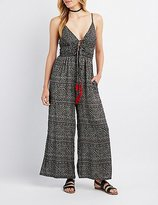 Charlotte Russe Printed Tie-Front Wide-Leg Jumpsuit