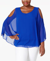 Charter Club Plus Size Cold-Shoulder Cape Top, Only at Macy's