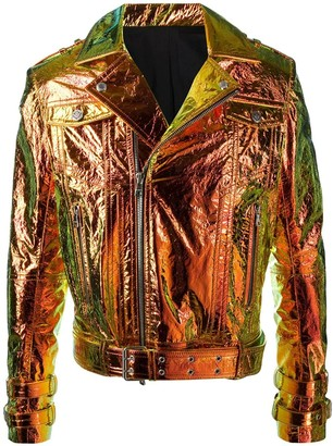 Balmain Metallic Hologram Leather Moto Jacket
