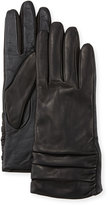 Neiman Marcus Ruched Leather Tech Gloves, Black