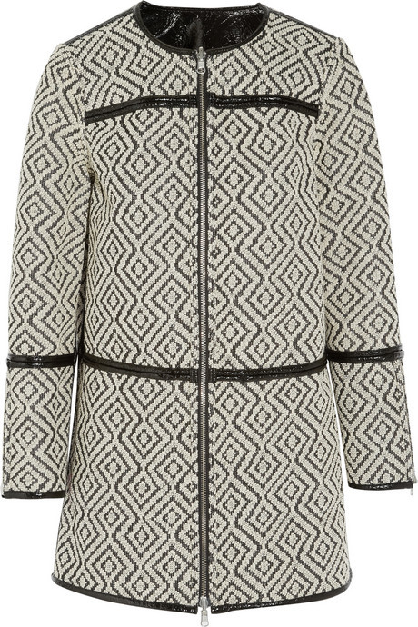 Tory Burch Jade reversible jacquard and patent coat