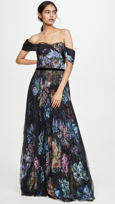 Marchesa Off the Shoulder Printed Chiffon and Charmeuse Gown