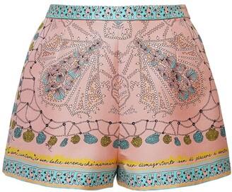 Emilio Pucci High Waist Printed Silk Twill Shorts