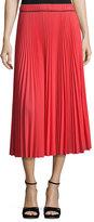 Marc Jacobs Pleated Crêpe de Chine Midi Skirt, Orange