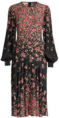 Michael Kors Crushed Drop-Waist Floral Silk Dress