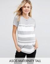 Asos TALL T-Shirt in Block Print Stripe