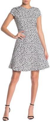 Alexia Admor Asymmetrical Neck Cap Sleeve Fit & Flare Dress