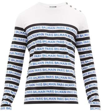 Balmain Logo Stripe Cotton Jersey Long Sleeve T Shirt - Mens - Black Blue